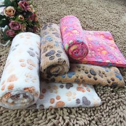 Śliczne ślad zwierzęta pies kot jesienią i zimą ciepłe aksamitne ręczniki koce dla psów kremowe kawy wzrosła na twój wybór rozmi