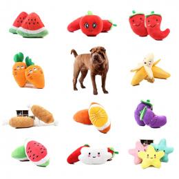 1 pc Owoce Warzywa Kurczaka Bęben Kości Squeak Zabawka Dla Psa Puppy Plush Red Pepper Bakłażan Rzodkiewka Kaczka Brzmiące Pet za