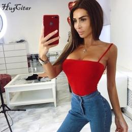 Hugcitar bawełna spaghetti pasy slash neck backless sexy bodycon body 2018 kobiet black red white solidna moda ciała