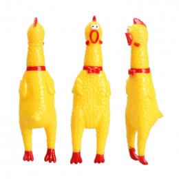 Gorąca Sprzedaż 17 cm Żółta Gumowa Krzyczy Kurczak Pet Dog Puppy Toy Chew Zapiszczeć Odpowietrzania Zabawki
