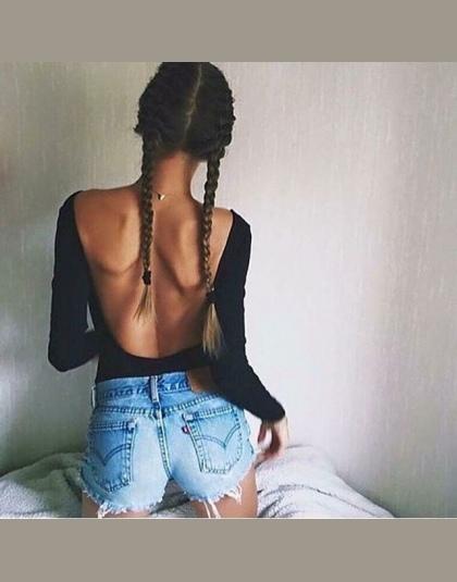Backless długim rękawem jesień body kobiety 2018 bandaż przydatności slim czarne kombinezony body sexy hot bodycon kombinezony o