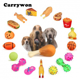 CARRYWON Pet Dog Cat Chew Zabawki Anti Bite Piszczałka Piskliwy Plush Dźwięk Śliczne Ball Noga Kurczaka Wzory Puppy Szczotka Do