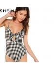 SHEIN Bez Rękawów Spaghetti Strap Sexy Backless Lato Kobiet Body Mid Talia Głębokie V Kratę Wyciąć Węzeł Skinny Bodysuit Cami