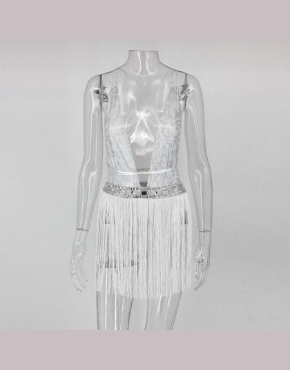 Joyfunear srebrny backless bodysuit kobiety Bodycon Kombinezon Romper sexy tassel ciała feminino Eleganckie kostiumy kąpielowe m