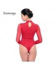 Ziamonga 2017 Marka Sexy Body Kombinezon Romper Kobiety Czarny Biały Hollow Z Długim Rękawem Stretch Mesh Bodycon Kombinezony Ci