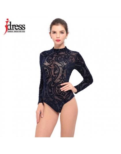 IDress Czarny Czerwony Niebieski Panie Body Top Kobieta Z Długimi Rękawami Koronki Romper Pajacyki Body Body Macacao Feminino Ko