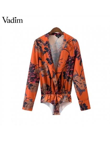 Vadim kobiety vintage floral koszula body z długim rękawem playsuit elastyczny pas retro bluzka moda casual bluzki blusas KZ1058