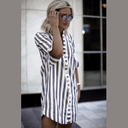 Lato Kobiety bluzki Róg Rękawem Striped Połowa Rękawem Topy Długi dziewczyna Bluzka Ladies striped trąbka rękawy kobiet długa ko