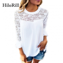 HiloRill 2018 New Fashion Kobiety Bluzka Casual Flare Rękawem Szyfonowa Koszula Koronka Patchwork Crochet Lace Top Tunika Blusas
