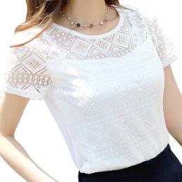 2017 Odzież Kobiet Szyfonowa Bluzka Koronki Crochet Kobiet Koreański Damska Koszule Blusas Topy Shirt Biały Bluzki slim fit Topy