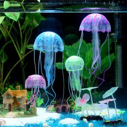 Ładne Świecące Efekt Silikonowe Sztuczne Żywe Jellyfish Aquarium Fish Tank Dekoracji Ornament