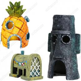 Fish Tank Akwarium Decor Dla SpongeBob i Squidward Dom Ananas Cartoon Dom Domu Ozdoby Akwarium Akcesoria