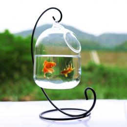 Jasne PETFORU 15 cm Wysokość Wiszące Szklane Akwarium Ryby Miska Fish Tank Kwiat Roślin Wazon z 23 cm Wysokość Biały stojak Fish