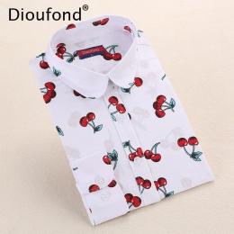 Cherry Dioufond Nowy Floral Vintage Bluzka Z Długim rękawem Turn Down Collar Shirt Blusas Feminino Panie Bluzki Damskie Topy Mod