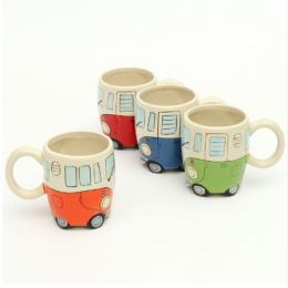 400 ml Kreatywny Ręcznie Malowanie Podwójne Autobus Kubki Retro Ceramiczny Kubek Mleka Do Kawy Kubek Herbaty Drinkware Novetly P
