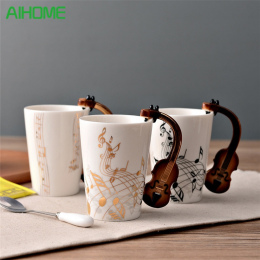 Nowość Gitara Ceramiczny Kubek Osobowości Muzyka Uwaga Mleka Sok z Cytryny Kubek Kawy Kubek Herbaty Home Office Drinkware Unikal