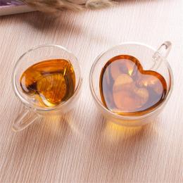 W Kształcie serca Miłość Podwójna Ścianka Kubek Szkła Odporne Kungfu Herbaty miłośnik kawy kubki kubek kubek mleka sok puchar dr