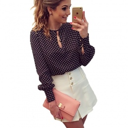 2017 New Arrival Kobiety Bluzki Casual O-Neck Długie Rękawy Bluzki Wiosna Lato Koszula Szyfonowa Polka Dots