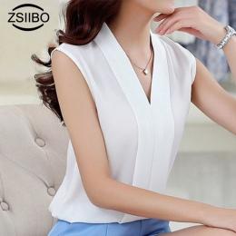 Koreański styl Kobiety Moda Szyfonu Bluzki Damskie Topy Kobiet Bez Rękawów Biała Koszula Blusas Femininas Plus Size Odzież Kobie