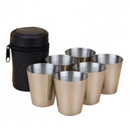 6 Sztuk/zestaw 30 ml Zewnątrz Praktyczne Kubki Ze Stali Nierdzewnej Shots Zestaw Mini Okulary Dla Whisky Wino Przenośny Szklanka