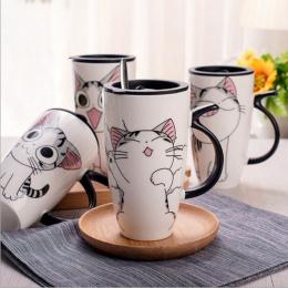 Cute Cat Ceramiki Kubek Kawy Z Pokrywką Duża Pojemność 600 ml Zwierząt Kubki kreatywny Drinkware Kawy Filiżanki Nowość Prezenty