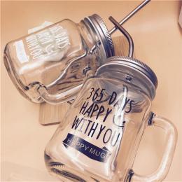Mason Jar Butelka Metalową pokrywą z smoothie Kubki Klasyczne Izolowane Tumbler Wody-sized Słomki bpa 455 ml H1107
