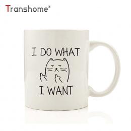 Transhome Kreatywny Kot Kubki Do Kawy Ceramiczny Kubek Zabawny Kot I ZROBIĆ to, CO CHCĘ Środkowy Palec Kubki Do Kawy I Herbaty m