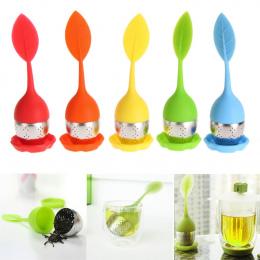 6 kolory Silikon Zaparzaczem Wielokrotnego Użytku Sitkiem Herbaty Słodkie Liści z Kropli Taca Nowość Tea Ball Ziołowe Spice Filt