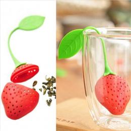 1 pc piękny Do Ponownego Użycia Foof bezpieczne Silikon Red Strawberry Kształt Liści Herbaty Torba Uchwyt Kawa Herbata Cios Filt