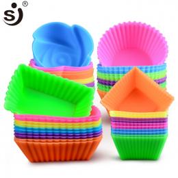 12 sztuk Mydła Silikonowe Formy Ciasto Silikonowe Formy Serca Cupcake Muffin Pieczenia Nonstick i Wielokrotnego Użytku Ze Stali
