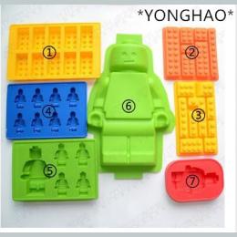 YONGHAO Ciasto Narzędzia Otwory Lego Mini Rysunek Robot Ice Cube taca Mold Chocolate Cake Galaretki Silikonowe Jello Mold Kremów