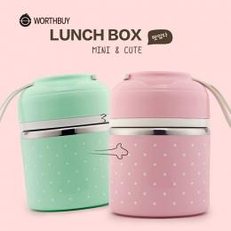 WORTHBUY Słodkie Japoński Lunch Box Termiczna Szczelny Ze Stali Nierdzewnej Bento Box Dzieci Przenośny Piknik Szkoły Żywności Po