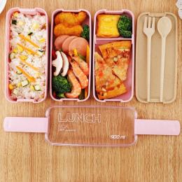 900 ml Zdrowe Materiał Pudełka Bento Lunch Box 3 Warstwa Słomy Pszenicy Mikrofalowe Obiadowy Lunchbox Pojemnik Do Przechowywania