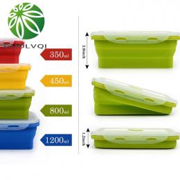 Duolvqi Silikonowy Lunch Box Przenośny Miska Kolorowe Składane Żywności Pojemnik Lunchbox 350/500/800/1200 ml Ekologiczny