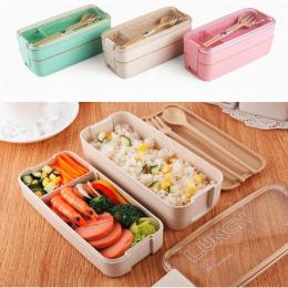750 ml Zdrowe Materiał 2 Warstwa Lunch Box Słomy Pszenicy Pudełka Bento Mikrofalowa Obiadowy Pojemnik Do Przechowywania Żywności
