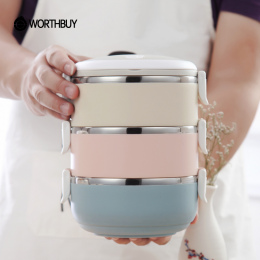WORTHBUY Kolor Gradientu Japoński Lunch Box Cieplne Dla Żywności Bento Box Ze Stali Nierdzewnej LunchBox Dla Dzieci Przenośny Pi
