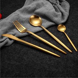 Gorąca Sprzedaż 4 sztuk/zestaw Czystego Złota europejski Obiadowy nóż 304 Ze Stali Nierdzewnej Zachodniej Sztućce Kuchnia Żywnoś