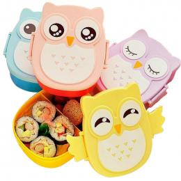 Hoomall 900 ml Cute Sowa Studentów Lunch Box Z Łyżką Dzieci Bento Box Żywności Pojemnik z przegródkami Obiadowy Case Storage box