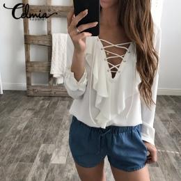 Celmia Kobiet Lato Bluzka 2018 Szyfonowa Bluzka Sexy Top Lace Up V Neck Wzburzyć Koszula Z Długim Rękawem Casual Plus Size blusa