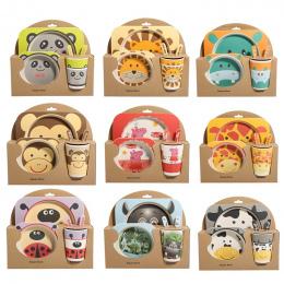 Lekoch 5 sztuk/zestaw zwierząt zoo dziecko Płyta łuk puchar Widły Obiadowy Zestaw do karmienia 100% włókna bambusowego Dziecko d