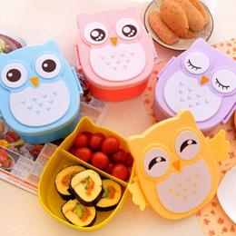 Cute Cartoon Sowa Lunch Box Żywności Pojemnik Schowek Przenośne Dzieci Student Lunch Box Bento Box Pojemnik Z Przegródkami Skrzy