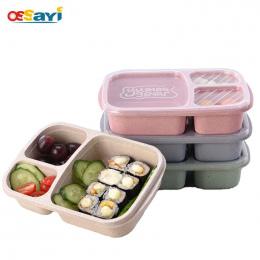 Lunch Box Zastawa Mikrofalowa Bento Box Jakości Słomy Pszenicy Zdrowia Naturalne 3 Siatka Uczeń Przenośne Pudełko Do Przechowywa