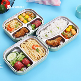 WORTHBUY 304 Ze Stali Nierdzewnej Japoński Lunch Box Z Przegródkami Mikrofalowa Bento Box Dla Dzieci Szkoły Piknik Pojemnik Na Ż