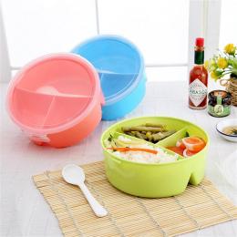 Adeeing Przenośne Mikrofalach Okrągłe Pudełka na Lunch dla Dzieci z 3 Grids Partycji Piknik Bento Pojemnik Do Przechowywania Żyw