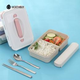 WORTHBUY Japoński Plastikowe Pudełko Bento Przenośne Dzieci Mikrofalowa Lunch Box Z Przegródkami BPA DARMO Słomy Pszenicy Żywnoś