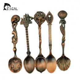 FHEAL 5 sztuk/zestaw Rocznika Królewski Styl Bronze Rzeźbione Małe Kawy Jadalnia Bar Narzędzia Narzędzia Kuchenne Stołowe Sztućc