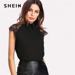 SHEIN Floral Lace Cap Sleeve Bluzka Czarny Peter pan Collar Przycisk Kobiety Elegancki Top Lato Bluzka Z Krótkim Rękawem Zwykły