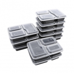 10 sztuk Plastikowe Pudełko Bento Posiłek Przechowywania Prep Żywności Lunch Box 3 Komora Wielokrotnego Użytku Mikrofalach Pojem