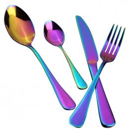 4 sztuk/zestaw Rainbow Stołowe Ze Stali Nierdzewnej Sztućce Kolacja Nóż Widelec Łyżeczka Xmas Obiadowy Zestaw Obiad Akcesoria Ku