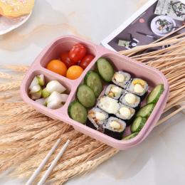 Lunch Box Ze Słomy Pszenicy Biodegradacji Mikrofalowe pojemniki na żywność z przegródkami Bento Box Pudełko Do Przechowywania Ży